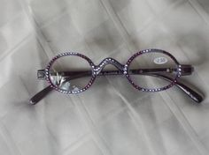 Check out 2.50 Swarovski  Vintage Small Oval Readers, Light Amethyst and Provence Lavender on Gray Frames, Spring Hinges For a Narrow to Medium Head on jamaartbeads