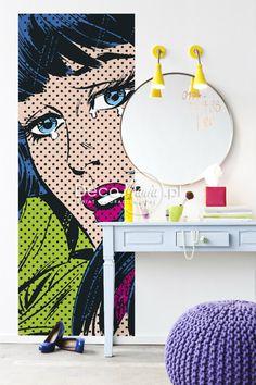 Interior Pop art. Para que cada objeto decorativo pueda destacar en plenitud, es necesario contrastar con mucho blanco y primar la iluminación.