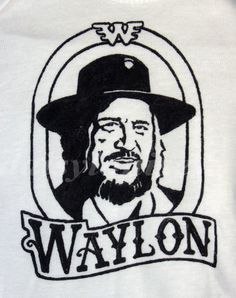 Hand Painted Waylon Jennings Baby Bodysuit or Kid's T-Shirt (pick your size) country music - 1970s - retro - black and white. $17.95, via Etsy.