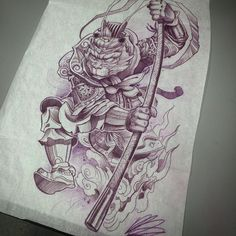 Tone rendering for a Monkey king half sleeve I've been working on. #monkeyking #prismacolorpencils  #tattooistartmag