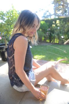 {Enjoying sun tea outside in stripes and lace (available here and here)}