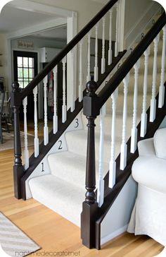 Bye bye Cherry, Helloooo Java: The sf(EASY! Painted Stair Railings, Painted Staircases, Staircase Railings, Painted Stairs, Banisters, Staircase Design, Staircase Ideas, Bannister Ideas Painted, Stairways