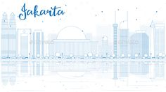 Outline Jakarta Skyline with Blue Buildings and Reflections.