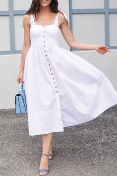 323270170c64 Midi White Summer Dress under $100. Marie Ernst shows the perfect dress for  summer days