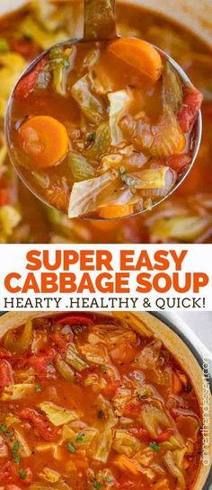 Cabbage Soup Dinner then Dessert Cabbage Soup is the PERFECT savory vegetable soup made with cabbage tomato carrots celery and spices ready in under 45 minutes Easy Cabbage Soup, Cabbage Soup Recipes, Beef Recipes, Cooking Recipes, Healthy Recipes, Vegetarian Cabbage Recipes, Cabbage Ideas, Cooking Pasta, Vitamix Recipes