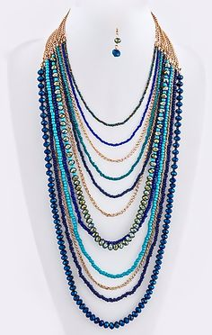 Blue-Dipped Draped Necklace Set