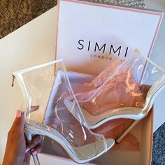 Shoe Story. . . Thoughts?  Explore Your Alter Ego! Me Too Shoes, Cute Shoes, Transparent Heels, Clear Shoes, Simmi Shoes, Bootie Boots, Ankle Boots, Heeled Boots, Ego Shoes