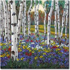 Out of Bounds 3 - Spring Aspen Painting by Jennifer Vranes, painting by artist Jennifer Vranes