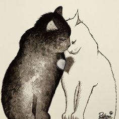 Raphaël Vavasseur Art — TWO CATS, ONE HEART - Raphaël VAVASSEUR - Peinture...
