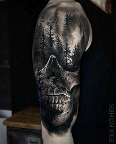 Sublime piece done on guy& shoulder and upper arm, with a realism skull and. - Sublime piece done on guy& shoulder and upper arm, with a realism skull and a dark, scary loo - Wolf Tattoos, Scary Tattoos, Badass Tattoos, Black Tattoos, Amazing Tattoos, Tatoos, Warrior Tattoos, Interesting Tattoos, Skull Sleeve Tattoos