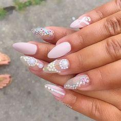 ✴✴✴〰Nail art matte〰✴✴✴ Gem Nails, Matte Nails, Pink Nails, Claw Nails, Huda Beauty, Nail Art Designs, Hair Makeup, Sparkle, Glitter