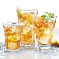 Beat the heat with these cool summer drinks. With refreshing summer cocktails and mocktails as well as creative twists on classic lemonade and blended margaritas, we've chosen a collection of refreshing summer drinks for you to sip all season long. Non Alcoholic Drinks, Fun Drinks, Yummy Drinks, Mocktail Drinks, Sweet Tea Recipes, Iced Tea Recipes, Drink Recipes, Lunch Recipes, Food Network Recipes