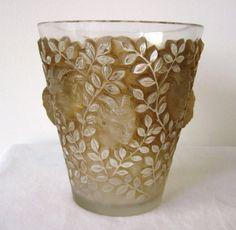 Frosted design on a Lalique art glass  drinking cup with tiny vine leaves and a central Satyr head!