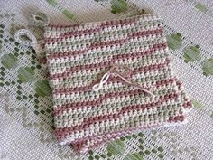 "I picked up this free pattern in a favorite craft store. The pattern was called ""Grandma Leona's Hot Pad"" and the sample was fabulous. It ... Crochet Hot Pads, Free Crochet, Easy Crochet, Knit Crochet, Tunisian Crochet Stitches, Crochet Potholders, Crochet Crafts, Crochet Home, Crochet Projects"
