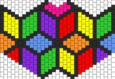 Cubic Rainbow Flower bead pattern Kandi Mask Patterns, Pony Bead Patterns, Peyote Stitch Patterns, Beading Patterns Free, Bracelet Patterns, Pixel Art, Graph Paper Art, Pixel Pattern, Rainbow Flowers