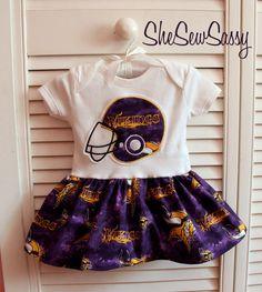 Minnesota Vikings onesie dress  I will so make a Texan one for Morgan's little girl one day!