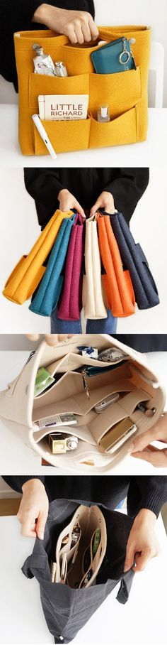 "Fantastic Pic Fashion Bags red Ideas >>Bag in Bag Casual Travel Multi-pockets Storage Bag Package Cosmetic Bag""> Uour hand bags and foo Sewing Hacks, Sewing Projects, Sewing Tips, Bag In Bag, Tote Bag, Diy Sac, Bag Packaging, Purse Organization, Organizing"