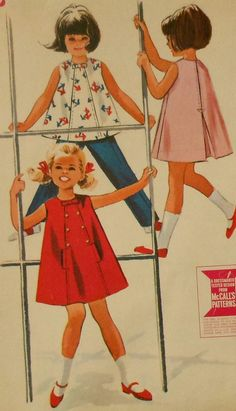 Vintage 1960s Toddler Girls Flared Dress, Top, and Pants Sewing Pattern
