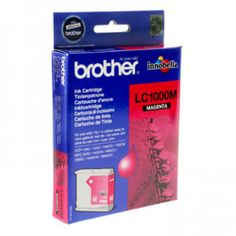 Brother Original Magenta Singlepack Ink LC1000  100% Genuine Brother LC1000 Magenta Ink Cartridge. For use with the following printers:  Brother DCP-130C Brother DCP-330C Brother DCP-350C Brother DCP-357C Brother DCP-540CN Brother DCP-560CN Brother DCP-770CW Brother MFC-240C Brother MFC-440CN Brother MFC-465CN Brother MFC-5460CN Brother MFC-5860CN Brother MFC-680CN Brother MFC-845CW Brother MFC-885CW Tags: brother, compatible, magenta, singlepack,
