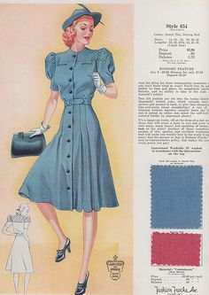 Fashion Frocks 1940 vintage style war era 40s blue day dress button front puff sleeves hat gloves shoes color illustration print ad model magazine catalogue