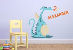Dragon wall decal... personalize with child's name