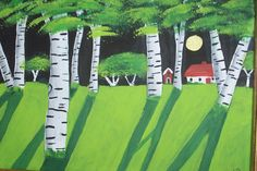 MOON SHADOWS ON BIRCH TREES or A PLACE TO BE ALONE painted with DECOART acrylics