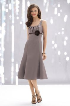 Straps satin bridesmaid dress with empire waist