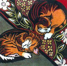 "Kit Hiller (Tasmanian contemporary artist) - ""Kittens"" - Hand coloured linocut"