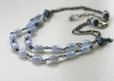 Blue Chalcedony and sterling silver necklace Pale Blue Yonder