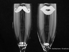 That's cute, haha - His and Hers Mustache and Lips Champagne Flutes
