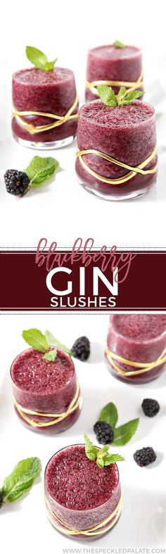 Cool off this summer with a Blackberry Gin Slush! This cocktail mixes blackberries, ginger ale, mint and gin. This chilled creation is hard to stop sipping. #cocktail #drink #recipe