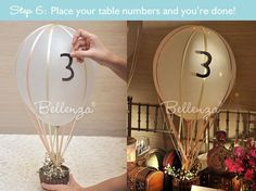 Hot air balloon centerpiece for travel theme wedding (DIY tutorial). Can use red balloons for red theme Hot Air Balloon Centerpieces, Diy Hot Air Balloons, Party Centerpieces, Vintage Centerpieces, Centerpiece Ideas, Vintage Travel Themes, Before Wedding, Wedding Balloons, Centre Pieces