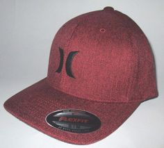 7b8630d6 MENS HURLEY BURGUNDY MAROON HAT FLEX FIT FITTED CAP SIZE S/M | Clothing,