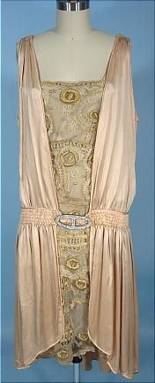 c. 1927 Flapper Dress of Blush Pink/Peach Silk and Lace, with shirred dropped waist and rhinestone buckle.