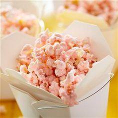Pink Lemonade Popcorn from Pillsbury Baking Flavored Popcorn, Popcorn Recipes, Snacks Recipes, Easy Snacks, Healthy Snacks, Easy Meals, Dessert Recipes, Crisco Recipes, Yummy Recipes