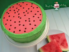 Bird On A Cake: Watermelon Flavored Cake I think Helen will LOVE this one. our watermelon girl. Köstliche Desserts, Delicious Desserts, Creative Desserts, Watermelon Cake Recipe, Watermelon Girl, Watermelon Birthday, Watermelon Cakes, Food Cakes, Cupcake Cakes