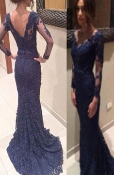Illusion Navy Mermaid V Neck Long Sleeve Long Evening Dress With Embroidery