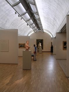 Barrel vault, Kimball Museum of Art Not many low ceiling examples.  May be a way to get more diffuse light or less sharp shadows up high in an attic truss space.