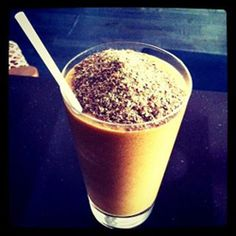 pumpkin spice protein smoothie  ½ cup canned pumpkin  1 cup almond milk  ½ a banana  1 tbsp of raisins  1 scoop of vanilla protein powder  ½ tsp vanilla extract  sprinkle nutmeg, cinnamon and ginger  Blend it all together in your favourite appliance (are you a Vitamix® or Magic Bullet® devotee?) and top with flax seed for an extra health kick!