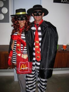 My husband and I both decided to be the Hamburglar (well he refused to be Ronald McDonald... so two Hamburglars it was!).  We both purchased prison ...