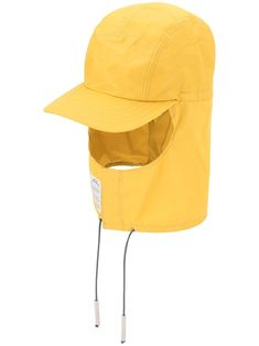 Yellow head-and-neck hat from A-COLD-WALL* featuring a visor, a drawstring fastening and an elasticated opening. Diy Mask, Diy Face Mask, Valentino Camouflage, Stone Island Shadow Project, Adidas Stan Smith Sneakers, Sun Protection Hat, A Cold Wall, White Industrial, Embroidered Caps