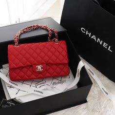 Red dream ❤ Chanel Red caviar classic flap in medium size with light gold hw . Please, don't ask for price, I am not a seller 🙏 . Replica Handbags, Chanel Handbags, Fashion Handbags, Purses And Handbags, Fashion Bags, Cheap Handbags, Handbags Online, Popular Handbags, Blue Handbags