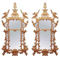 Pair of 19th Century Chinese Chippendale Style Mirrors | From a unique collection of antique and modern wall mirrors at https://www.1stdibs.com/furniture/mirrors/wall-mirrors/