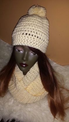 Pom pom hat and infinity scarf.. Sewcrazyme
