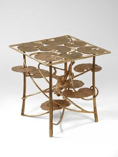 Claude and François-Xavier Lalanne: bronze lotus (water lily) table with monkey