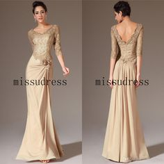 Wholesale Mother of the Bride Dress - Buy 2014 New Arrival V-neck A-Line Lace Satin Chiffon Mother of the Bride Dress Long Evening Dress Custom Made, $135.0 | DHgate