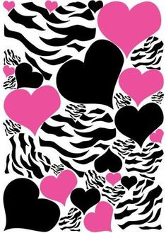 Zebra Print, Black and Hot Pink Heart Wall Stickers, Decals, Graphics 34 Heart Wall Decals White Wall Stickers, Wall Stickers Murals, Wall Decals, Wall Art, Pink Zebra Rooms, Zebra Room Decor, Zebra Party, Heart Wall Decor, Foto Poster