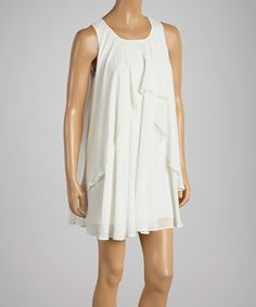 Look at this #zulilyfind! White Swing Shift Dress by Love Tree #zulilyfinds
