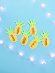 """You can do so much with today's craft. These small washi and paper pineapples (about 3"""" tall) make a cute party decoration in so many ways: decor for you"""