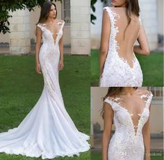 Stunning Beaded Lace Pearls Wedding Dresses 2017 Sexy Beading Appliqued Plunging V Neck Soft Tulle Bridal Dresses Court Train Wedding Dresses Lace Wedding Dresses London From Yaostore, $142.51| Dhgate.Com